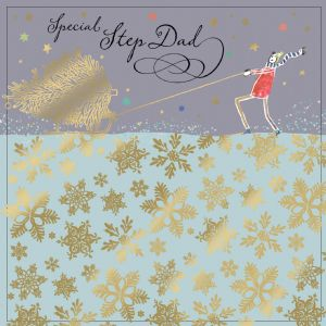 Step Dad Christmas Card with Gold Foiling, Contemporary Design and Red Envelope KIS32